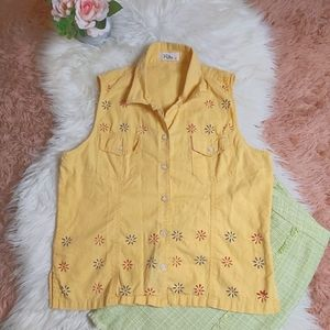 Vintage Y2K 90's Collared Button Down Floral Tank